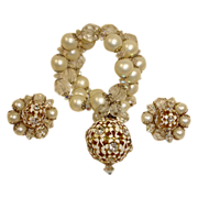 HOBE Bracelet and Earrings Set - Vintage Hobe Demi Parure Jewelry