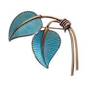 SOLD Vintage  Blue  Guilloche Enamel Brooch with Gold Wash over Sterling Silver -  Albert Scha
