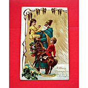 Vintage Embossed SANTA Postcard - Old World Blue Robe Santa - Undivided Back Post Card