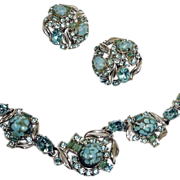 HOLLYCRAFT Demi - Parure Jewelry - Vintage Rhinestone Necklace and Earrings Set