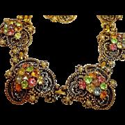 Florenza Rhinestone Parure - Necklace Bracelet and Earrings Set – Vintage Florenza Rhineston
