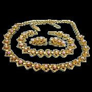 Vintage Aurora Borealis Rhinestones and Faux Pearl Necklace bracelet and Earrings Set -Vintage