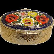 Vintage Micro Mosaic Jewelry Box Pill Box or Snuff Box - Flower Micro Mosaic Brass Box