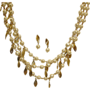 SALE Avon Necklace and Earrings Demi Parure - 3 Strand Pearl and Gold Tone Leaf