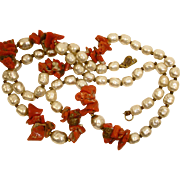 SALE Miriam Haskell Coral and Faux Baroque Pearl Necklace - Vintage Miriam Haskell Jewelry