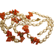 SALE SALE!!  Miriam Haskell Coral and Faux Baroque Pearl Necklace - Vintage Miriam Haskell Jew