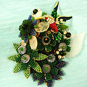 Signed Stanley Hagler Brooch - Figural Hummingbird and Tropical Flower Garden Brooch - HUGE