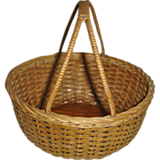 SALE Vintage Oak Splint Gathering Basket