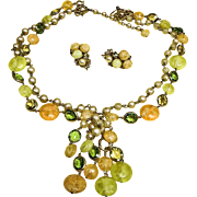 SALE VINTAGE KRAMER Demi Parure -TASSEL Necklace and Earrings Set