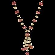 SALE Vintage Pink Opaque Venetian Glass Necklace
