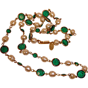 "Miriam Haskell Necklace - Glass Baroque Pearls and Green Cut Glass 28"" Necklace - Estate"