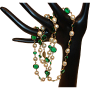 "Vintage Miriam Haskell Necklace - Glass Baroque Pearls and Green Cut Glass 28"" Necklace"