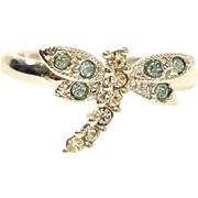Small Rhinestone  Dragonfly Ring - VINTAGE  Pinky Ring or Child's Ring Size 3-1/2 US