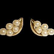 Vintage Faux Pearl Cluster Pierced Earrings