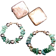 Vintage Turquoise Nugget and Silver Earrings