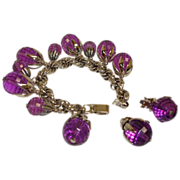 Vintage NAPIER Charm Bracelet and Earrings Demi Parure -  Purple Napier Jewelry