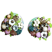 MIRIAM HASKELL Floral Cluster Earrings - Vintage Miriam Haskell Jewelry