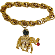 Vintage NAPIER Elephant Charm Bracelet