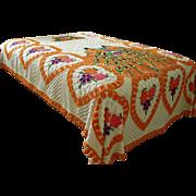 SOLD Vintage Orange and White Chenille Bedspread