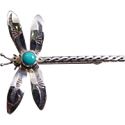 SALE Large Sterling Silver and Turquoise Dragonfly Pin Brooch - Vintage Estate Turquoise Brooc