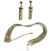 WHITING and DAVIS  Mesh Demi Parure - Silver Necklace and Earrings Set - Vintage Whiting and .