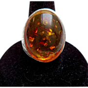 SALE Silver Tone Amber Cabochon Ring – Size 8