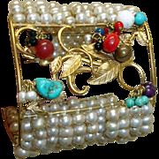 MASSIVE Vintage Dangling Gems Faux Pearl Cuff Bracelet