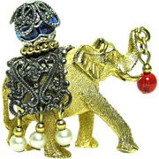 SALE PENDING Vintage Napier Elephant Jeweled Charm / Brooch / Pendant