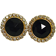 SALE Faceted Jet Black Glass  and Rhinestone Earrings - Vintage Pierced Earrings