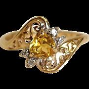 Vintage 14K Gold Citrine and Diamond Filigree Ring - Size 6-3/4 US - Heart Shaped Gem