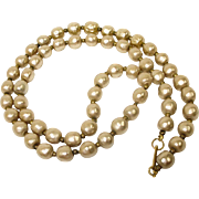 "SALE Miriam Haskell Glass Baroque Pearl Necklace - 26"" Long - Estate Jewelry"