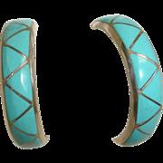 Inlaid  1/2 Hoop Earrings - Sleeping Beauty Turquoise and Sterling Silver Earrings - Vintage T