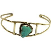 SALE Southwestern Silver and Turquoise Small Cuff Bracelet - Vinatge Southwest Jewelry