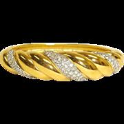 Vintage SWAROVSKI Crystal Bracelet - Gold Plated Hinged Bangle Clamper Bracelet