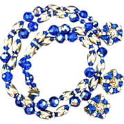Vintage Unsigned EUGENE Demi parure - Gold Tone Cobalt Blue Glass Beads and Rhinestones  - ...