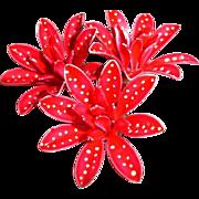 Red Polka Dot Enamel Brooch - Vintage Enamel Red Pin Brooch