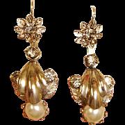 Vintage  Day Night  Drop Earrings -  Pierced Earrings