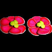 Hot Pink  Flower Earrings Vintage Enamel Clip On Earrings