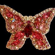 WEISS Signed Rhinestone Butterfly Brooch Pin - Vintage WEISS Jewelry