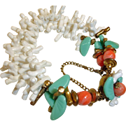 Vintage Miriam Haskell Faux Coral and Turquoise Bracelet  -   Miriam Haskell Bracelet