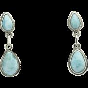 Sterling Silver Double Raindrop or Pear Larimar Pierced Earrings - Estate Larimar Jewelry