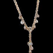 SALE Vintage Rivoli Rhinestone Necklace with Dangling Rhinestone Heart - Estate Jewelry