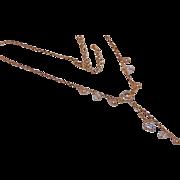 SALE Rivoli Rhinestone Necklace with Dangling Rhinestone Heart -Thin Light Weight - Estate ...