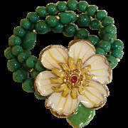 Vintage Green Glass Bracelet with HUGE Flower