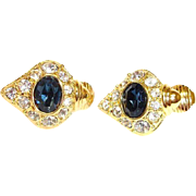 Vintage NOLAN MILLER Faux Sapphire and Rhinestone Earrings – Day to Night Design
