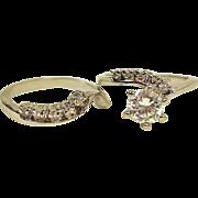 Vintage Sterling Silver CZ Engagement & Wedding Band Set - Size 6.5 US