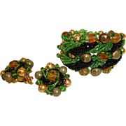 Beaded Art Glass Bracelet and Earrings Set - Vintage Haskell Style Demi Parure Jewelry