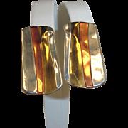 LAZARO G Sterling Silver Brass  & Copper Earrings – Vintage Clip On Style Estate Earrings