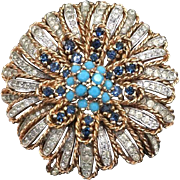 Signed PANETTA Rhinestone and Turquoise Brooch -  Tiered Flower Brooch Pin