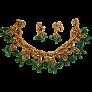 Exceptional NAPIER Green Elephant Charm Bracelet and Earrings Set – Vintage Napier Demi ...